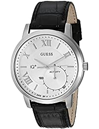 GUESS Men's Stainless Steel Connect Fitness Tracker Leather Watch, Color: Black (Model: C2004G1)