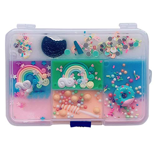 Chinaware Unique Five-Square Grid Slime Stress Relief Toy 300ML- Cute Duck Pearl Fish Shell Sequins Rainbow Lollipop Donuts Cookies Stars (A)