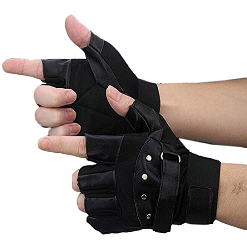 Shensee Boy Male Soft PU Leather Driving Motorcycle Biker Fingerless Warm Gloves - Kid Leather Driving Gloves