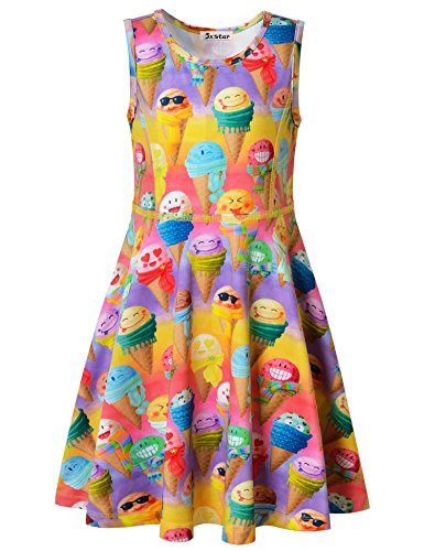 (Jxstar Little Girls Dress Sweet Print Colorful Icecream Pattern Sleeveless Dress Rainbow Icecream)