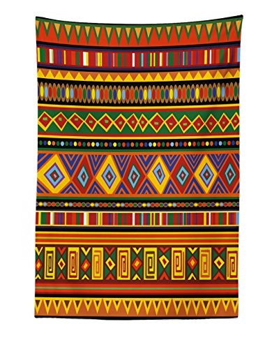Lunarable Tribal Tapestry, Geometric Ethnic Aztec Style African Pattern with Colorful Shapes Folk Art Design, Fabric Wall Hanging Decor for Bedroom Living Room Dorm, 30 W X 45 L inches, Multicolor