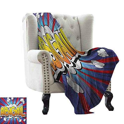 warmfamily Abigail,Warm Microfiber All Season Blanket,Comic Book Style Female Name with Explosion Effects on Abstract Pop Background 50