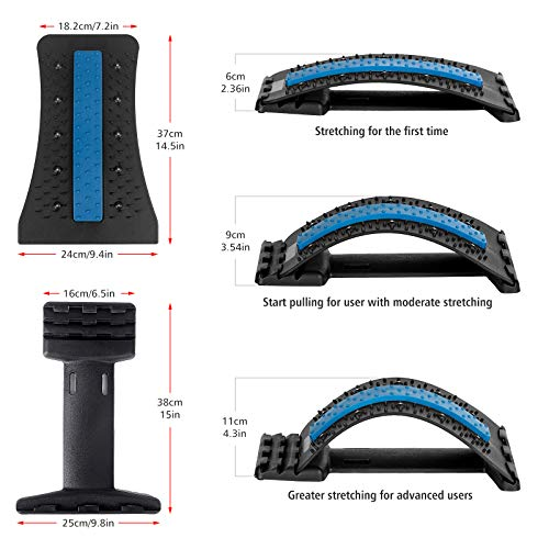 Wskderliner Back Stretcher, Lumbar Back Pain Relief Device with 3 Adjustable Settings Lumbar Support Stretcher with Magnetic Posture Corrector Back Support for Office Bed Chair (Black)