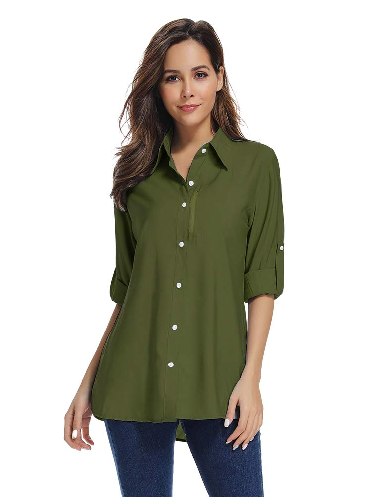 Women's Quick Drying Outdoor UPF 50+ Sun Protection Convertible Long-Sleeve Shirt #XJ5019,Army Green, 2XL by Toomett