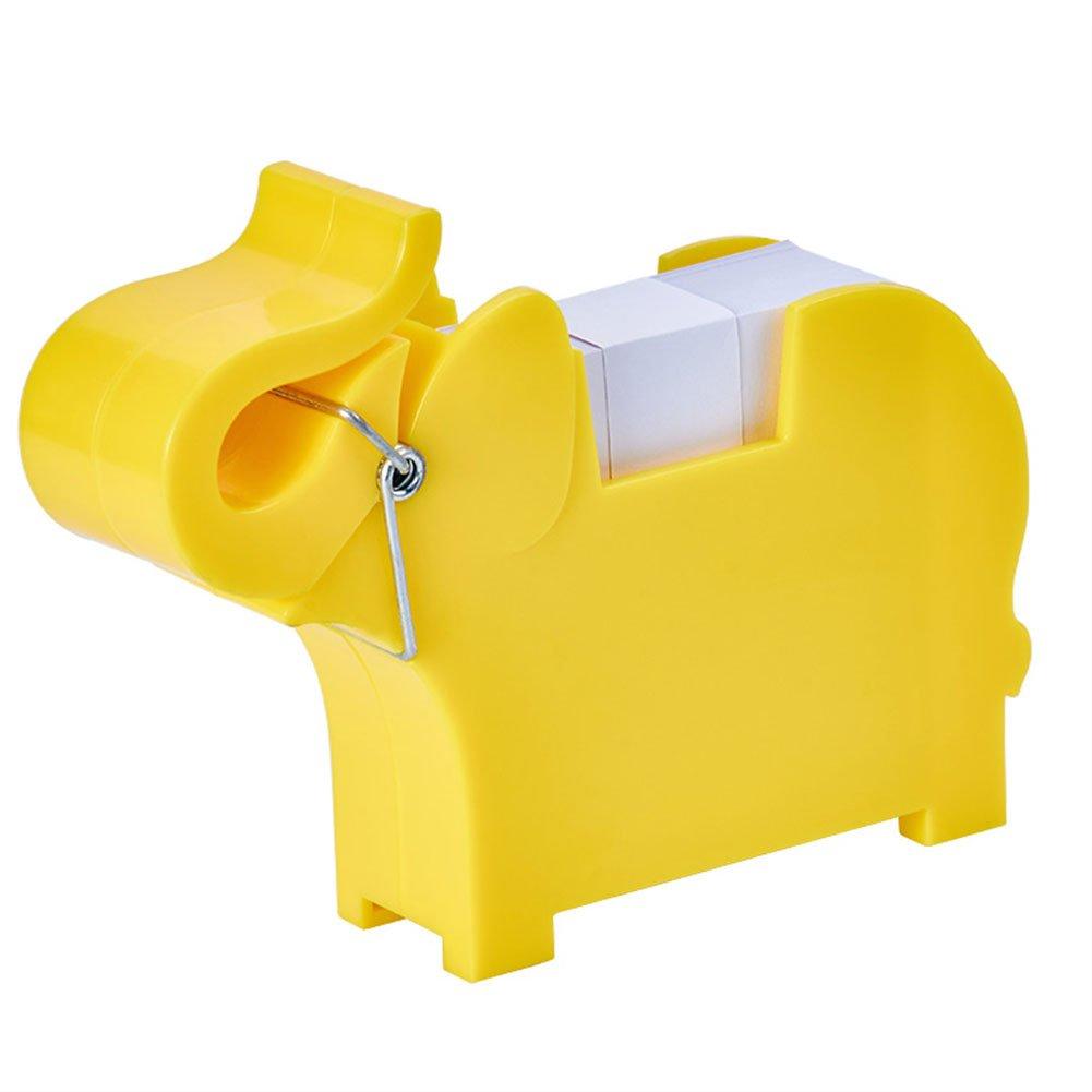 Lzttyee Animal Shape Multi-functional Plastic Memo Holder/Note Dispenser/Desktop Note Pad/Pen Holder with 200 Sheets Memo Pad for Office School Supplies (Elephant Yellow)