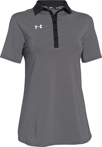 Under Armour Women's Clubhouse Polo (Large, Black/True Gray Heather/White)