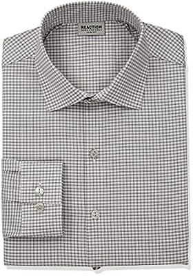 Kenneth Cole Reaction Men's Technicole Slim Fit Stretch Mini Plaid Dress Shirt
