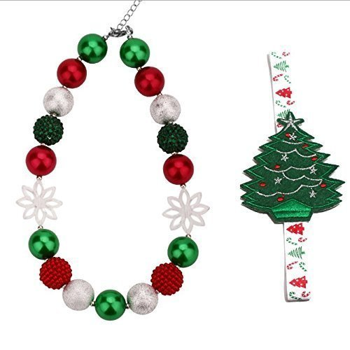UChic 1Set Kid Bead Necklace DIY children's red green white beads Christmas Green Kid Chunky Necklace Choker necklace Best Gift Necklace plus hair band Fashion Jewelry Christmas gifts Children Girls