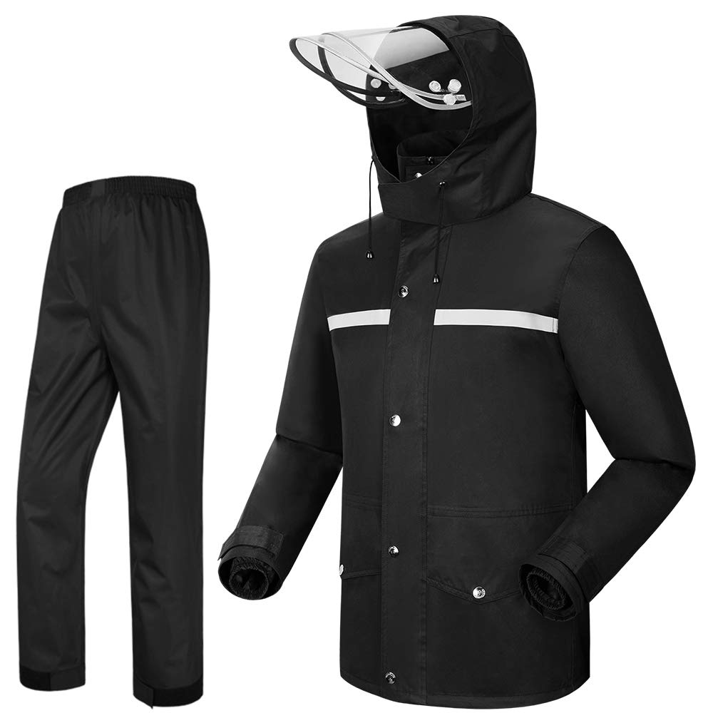 Tianwang Skynet Rain Suit Jacket & Trouser Suit Raincoat Unisex Outdoor Waterproof Anti-storm (4XL, black) by Tianwang Skynet