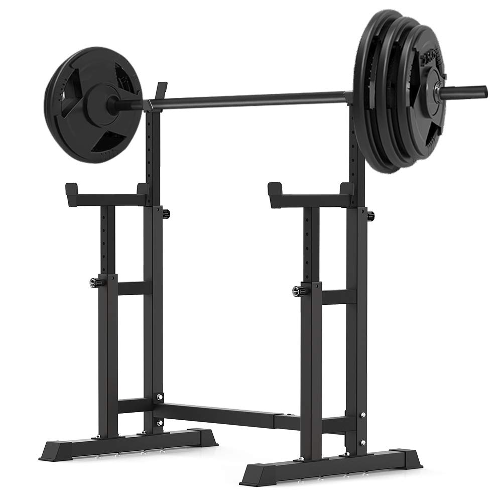 YouTen 800LBS Adjustable Sturdy Steel Barbell Squat Rack, Dumbbell Rack for Home Gym Exercise Fitness,Height Range 26.8'' to 55.9''