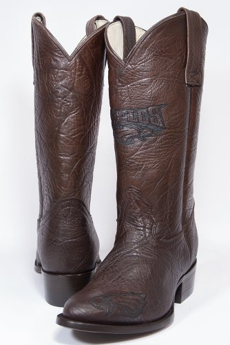 NFL Philadelphia Eagles Men's Traditional Toe Western Boot, Brown, 10.5 by Old Pro Leathers