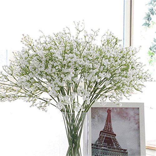 DIY Artificial Flower Branch Baby's Breath Flower Gypsophila Fake Silicone Plant For Wedding Home Hotel Party Decorations 7A0145 White