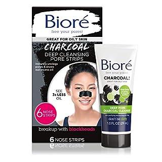 Bioré Deep Cleansing Charcoal Pore Strips (6 Count) + Mini Bioré Deep Pore Charcoal Cleanser for Oily Skin, 1 Ounce