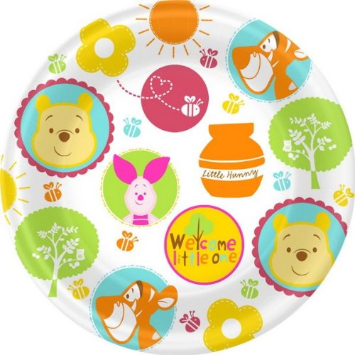 Winnie The Pooh Baby Plate (Winnie the Pooh 'Little Hunny' Baby Shower Large Paper Plates (8ct))