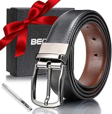 Reversible Belt for Men Black//Brown Best Gifts for Men Men/'s Genuine Leather Dress Belt
