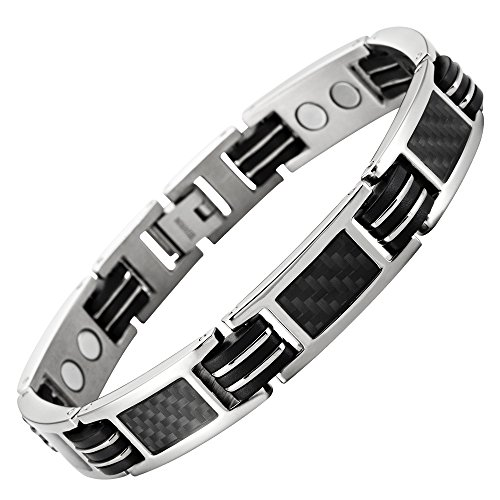 Carbon Fiber Titanium Magnetic Bracelet Adjustable Included By Willis Judd (Bracelets Carbon Fiber)