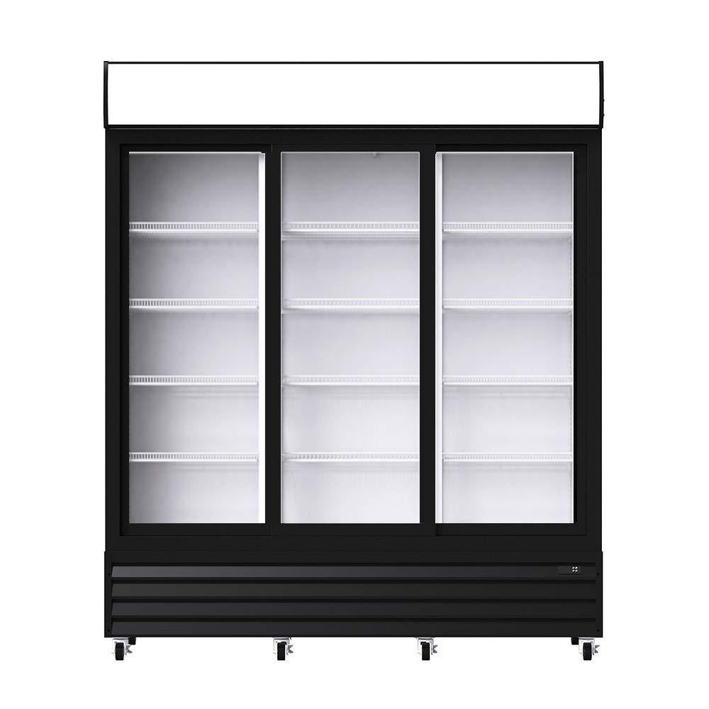 Procool Refrigeration Commercial Sliding 3-Door Merchandiser Refrigerator - Upright Reach In Beverage Display Cooler; 56.5 Cubic Ft.