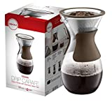 Osaka Pour Over Coffee Maker with Reusable Stainless Steel Drip Filter, 37 oz (7-Cup) Glass Carafe and Lid 'Senso-JI', Red