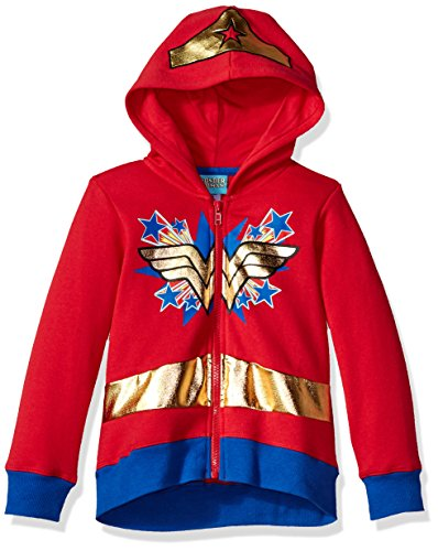 Warner Brothers Little Girls' Wonder Woman Costume Hoodie, Red, 6
