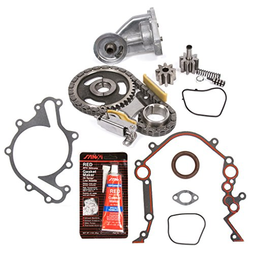 Evergreen TKTCS20500OP Fits 90-07 Ford Lincoln Mercury 3.8 3.9 4.2 OHV 12 Valves Timing Chain Kit Oil Pump Timing Cover Gasket -
