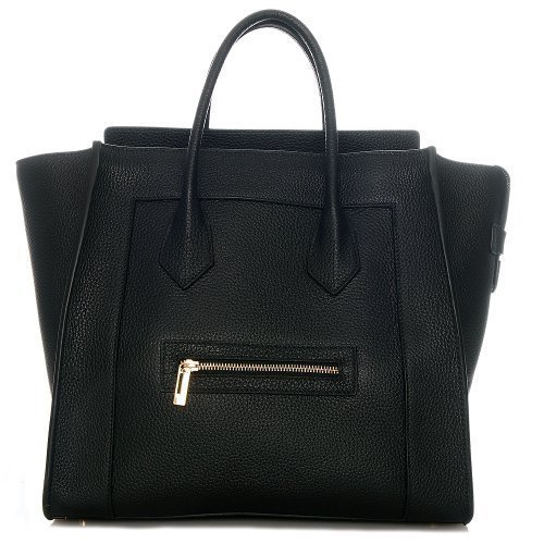 Rouven Black Schwarz & Gold MAYDLEN Tote Bag Leder Trapez Tasche Damen Handtasche Blogger (35x33x18cm)