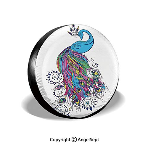 (Tire Cover,Colorful Fashion Art with Peacock Pattern Stylish Ornament Paisley Oriental,for Jeep Trailer SUV RV and Many Vehicles,15 Inch)