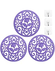 3 Set Silicone Flower Trivet Mat - Premium Quality Insulated Flexible Durable Non Slip Coasters Hot Pads