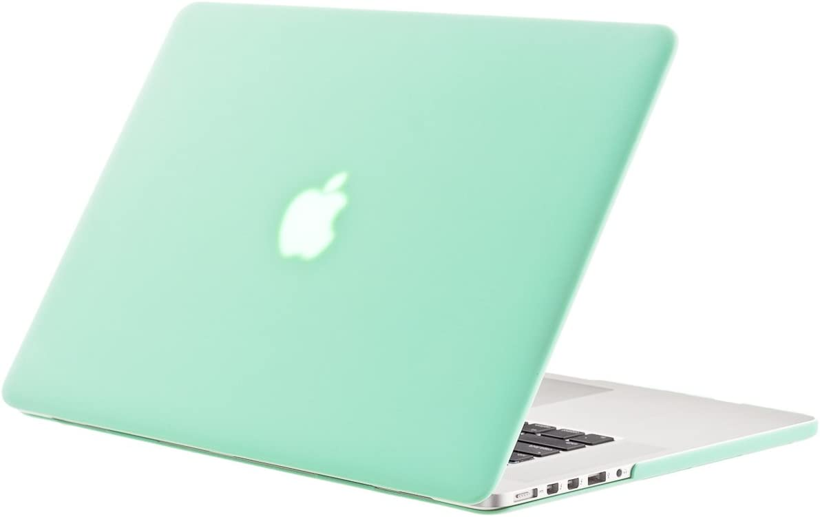 Kuzy - Older MacBook Pro 15.4 inch Case Model A1398 with Retina Display Soft Touch 15 inch Plastic Hard Shell Cover - Mint Green