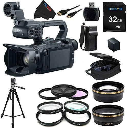 Canon XA20 Professional Camcorder - 8453B002 + Pixi-Essential Accessory Bundle - Features: 32GB High Class Memory Card + 72 inch Heavy Duty Tripod + (2) Replacement Battery & Charger + - Camera Motion Slow Phantom