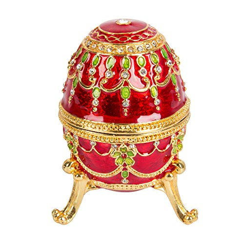 QIFU-Hand Painted Enameled Faberge Decorative Hinged Jewelry Trinket Box Unique Gift For Home Decor