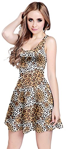CowCow Womens Brown Far Eastern Leopard Fur Print Sleeve Dress, Brown - M