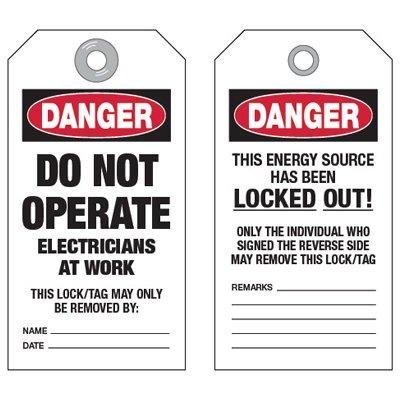 Electricians at Work Tags, Dura-Guard