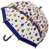 CLIFTON UMBRELLAS Raindrops Design Kid Friendly PVC Birdcage Umbrella, Rainbow, One Size