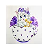 vmree DIY 5D Diamond Picture - Special-Shaped Rhinestone Embroidery Painting Crystals Pasted Handcraft Cross Stitch Handiwork Kits Visual Arts Home Decor Ideal Gift (Teacup Cat - 04 - 11.8
