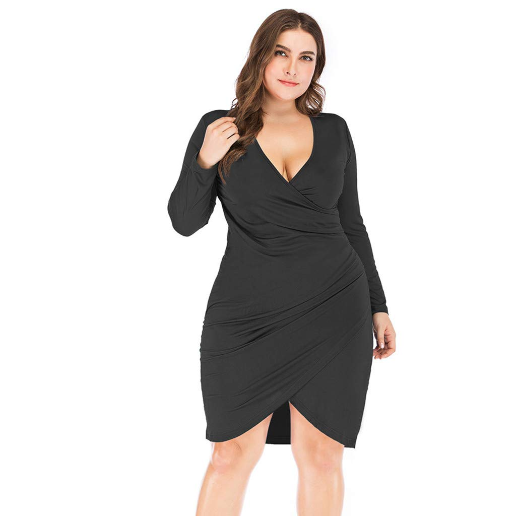 Shisay Women's Sexy V-Neck High Waist Slim Dress Plus Size Long Sleeve Solid Mid Dresses Black