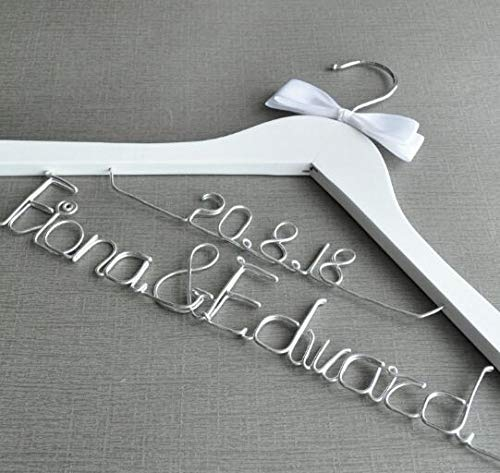 Viet SF Wood Hangers - Personalized Wedding Dress Hanger,Custom Name & Date Wedding Hanger,Gift for Bride,Wedding Favor