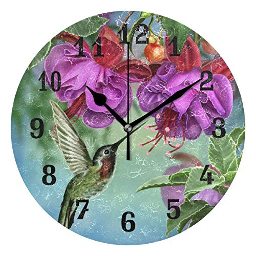 (AUUXVA SEULIFE Wall Clock Hummingbird Flower Purple, Silent Non Ticking Clock for Kitchen Living Room Bedroom Home Artwork Gift)