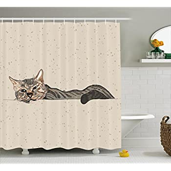 This Item Cat Shower Curtain By Ambesonne Lazy Sleepy Cat Figure In Earth Tones Cute Furry Mascot Indoor Pet Art Illustration Fabric Bathroom Decor Set