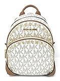 Michael Michael Kors Abbey Medium Frame Out Signature Studded Backpack Vanilla/Acorn