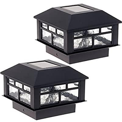 2 Pack Modern Design Solar Powered Post Cap Light by GreenLighting