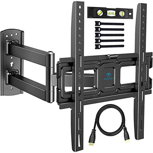 PERLESMITH TV Wall Mount Bracket Full Motion Single Articulating Arm for Most 32-55 Inch LED, LCD, OLED, Flat Screen, Plasma TVs with Tilt, Swivel and Rotation up to 110lbs VESA 400x400mm