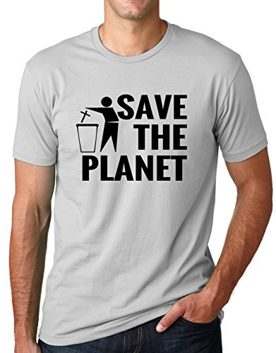 Atheism T-shirt Fitted (Think Out Loud Apparel Save The Planet Atheist Shirt Atheism T-Shirt Gray 2XL)
