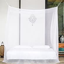 PREMIUM MOSQUITO NET for Double Bed, TWO Openings, Square Netting Curtains, Canopy for Beds, Rectangular Fly Screen, Insect Protection Repellent Shield for Home & Travel, Hanging Kit, Carry Bag, eBook
