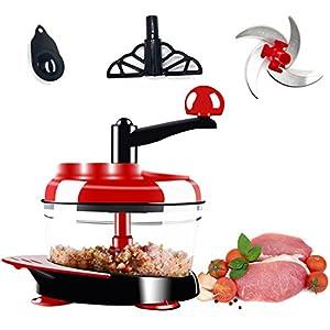 FirstFlourish Manual Hand Crank Food Chopper Meat Vegetable Grinder Mincer Blender Mixer Cutter Food Grade W/ Stainless Steel Blades