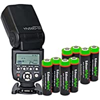 Yongnuo Professional YN 560 III Flash Speedlight Flashlight with 8 X EdisonBright Ni-MH rechargeable AA batteries bundle for Canon Nikon Pentax Olympus Camera / Such as: Canon EOS 1Ds Mark, EOS1D Mark, EOS 5D Mark, EOS 7D, EOS 60D, EOS 600D, EOS 550D, EOS 500D, EOS 1100D (Discontinued by Manufacturer)