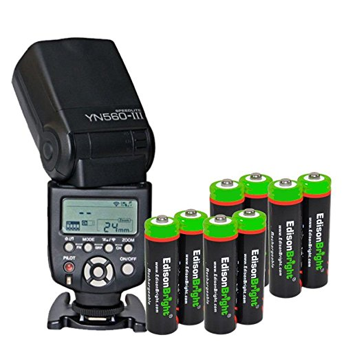 Yongnuo Professional YN 560 III Flash Speedlight Flashlight with 8 X EdisonBright (Olympus Nimh Battery)