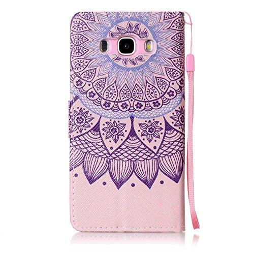 Para Smartphone Samsung Galaxy J5(2016) J510móvil, piel para Samsung Galaxy J5(2016) J510Flip Cover Funda Libro Con Tarjetero Función Atril magnético (+ Polvo Conector) negro 9 1