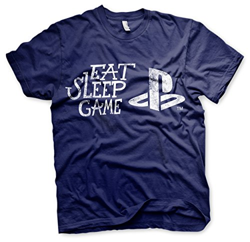 Offizielles Lizenzprodukt PS - Eat Sleep Game Herren T-Shirt (Marineblau)
