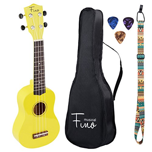 FINO Ukulele Kit for Beginners Rainbow Series,Soprano Ukulele Beginner Pack-21 inch w/Gig Bag,Strap and Picks,Small Guitar for Kids 5-8(Yellow)