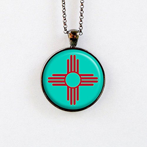 Jewelry tycoon®Zia Necklace - Turquoise and Red Sun Symbol ()